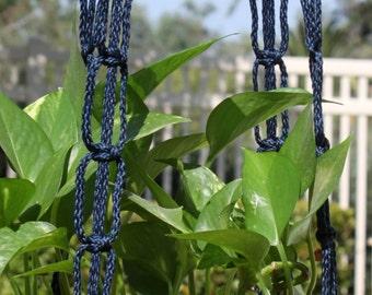 NAUTICA - Blue Handmade Macrame Plant Hanger Holder - 4mm Braided Poly Cord in NAVY