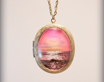 Point Loma Tide Pools locket Necklace Photo On Chain Original Handmade vintage brass sunset