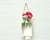 SALE! Set of 2 Hanging Mason Jar Vases with Gold Lids & Chains, Hanging Mason Jar Candleholders, Hanging Mason Jar Lanterns, Upcycle Vases