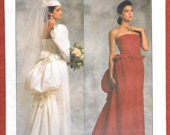 Vintage 1986 Vogue 1801 Designer Original  By Bellville Sassoon, Elegant Evening or Wedding Gown, With Bustle, And Pepum, Size 14