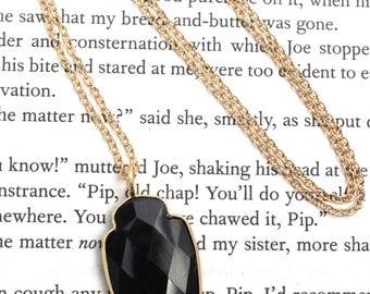Black Onyx Arrowhead Long Pendant Necklace