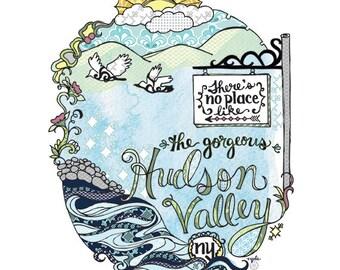 Hudson Valley Print - 8x10 print, hand lettered print