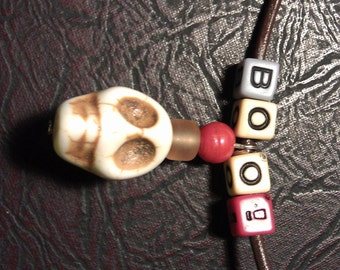 BOO Necklace,with Dangling Stone Skull, 16 inch Dark Brown Leather Cord,  3 inch Extension Chain, Lobster Clasp