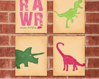 Dinosaur Art Print - Set of Four  8x10 - Custom Canvas Set - Custom Dinosaur