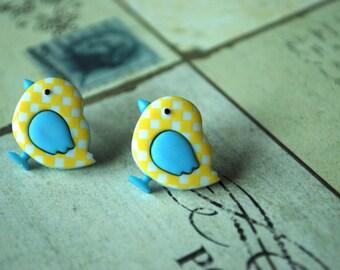 Bird Earrings -- Yellow Chick Studs, Chick Earrings, Checkered Earrings