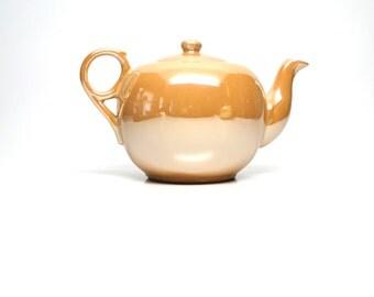 Vintage Lusterware Teapot Set Peach Sugar Bowl with Lid