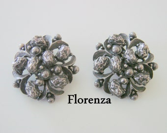 Florenza Renaissance Revival Clip Earrings / Designer Signed / Antique Silver Tone  /  Vintage Jewelry / Jewellery