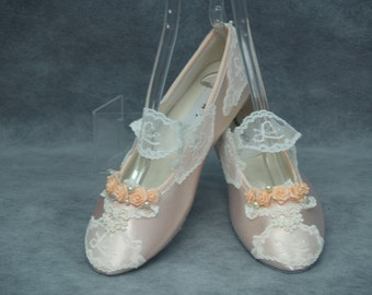 Ready to Ship Size 6 1/2 Bridal Victorian Flats Peach Wedding Shoes,Ballet style Slipper,LOVE LACE with peach flowers,Mary Jane Style, flat