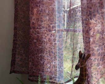 Pair of Leopard Print Sheer Curtain Panels, Rod Pocket Cafe Curtains, 42 x61
