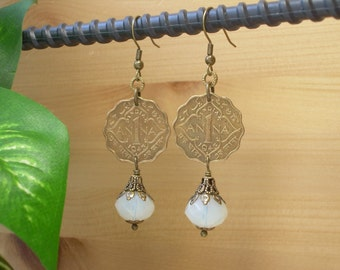 Coin Earrings ~ India Anna ONE 1943 ~ British Foreign Coin ~ White Moonestone Glass Beads