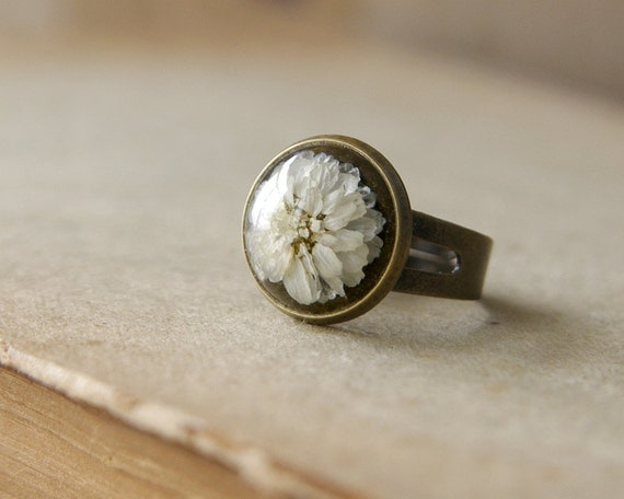 Real flower ring - handmade resin jewelry - brown rustic ring with Gypsophila paniculata flowers