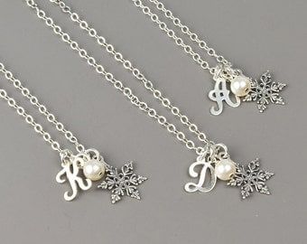 Snowflake Necklace SET OF 5 - 10% OFF Sterling Silver Snowflake Initial Charm Winter Wedding Bridesmaid Jewelry - Choose Swarovski Pearl