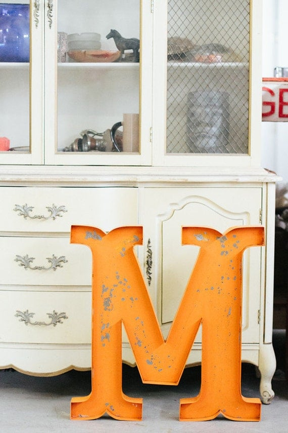 Large metal letters numbers wedding home by junkartgypsyz for Number 3 decorations