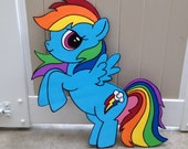 1 - My Little Pony Wood Creation - Rainbow Dash - Pinky Pie - Applejack - Birthday Party Decor - Wall Decor - Wood Standee