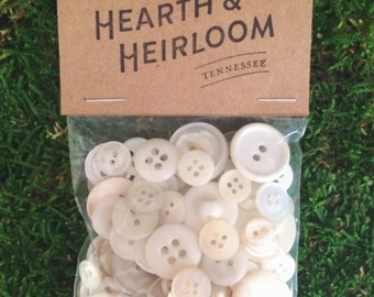 Assorted White Vintage Buttons  - Pack of 100