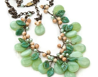 Green Statement Necklace, Bib Necklace, Flower Necklace, Nature Jewelry,