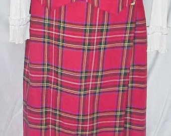 Tartan Plaid Skirt & Vest  Authentic Stewart Clan Tartan    Size M to L/10/12