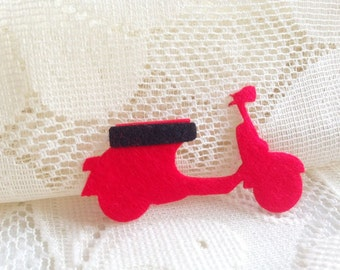 Felt Applique Iron on Applique Red Vespa Retro, kawaii applique shirt bag kid baby toys bag decoration scrapbook, baby shower