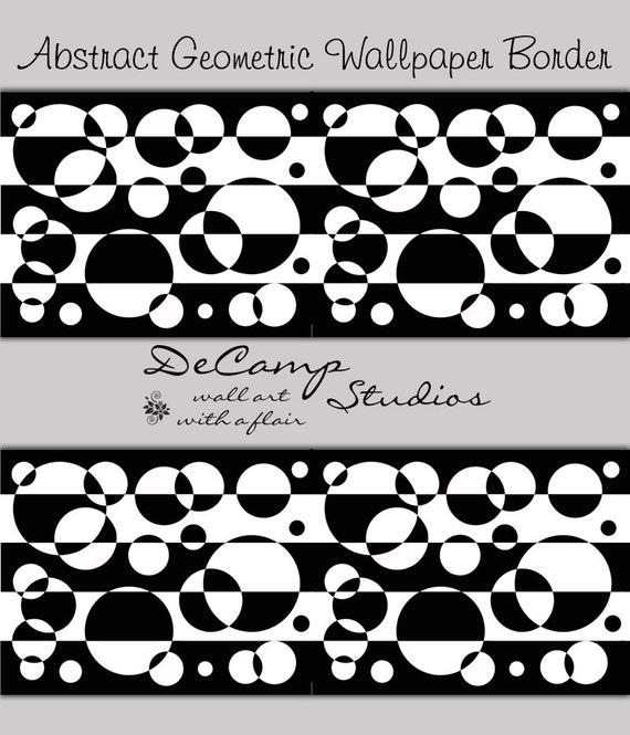 ABSTRACT WALLPAPER BORDER Black White Wall Decal Geometric