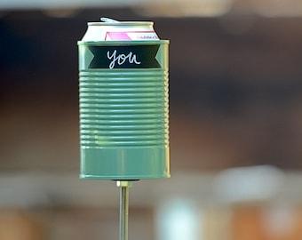 Green Chalk Up Hobo Tin Can Beer Holder/ Chalkboard Garden Drink Holder