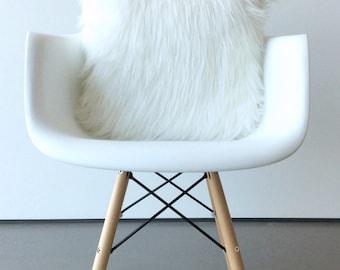 Scandinavian Modern White fur pillow throw suede cover 14 X 14 fluffy white fur white Suede pillow cover decorative ONE