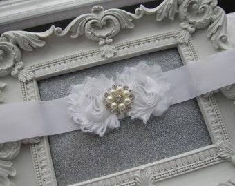 Wedding Sash, Bridal Sash, Rhinestone Sash, White Satin Sash, Wedding Accessories, Shabby Flower Sash, Belt, Vintage, Pearls, Flower girl