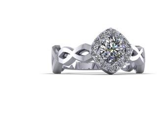 Half ct Round Diamond with Cushion shaped Halo Crisscross Engagement Ring