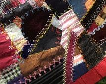 Antique 1898 Victorian Crazy Quilt ~ Silk Satin Velvet Hand Sewn & Embroidered ~ Dated