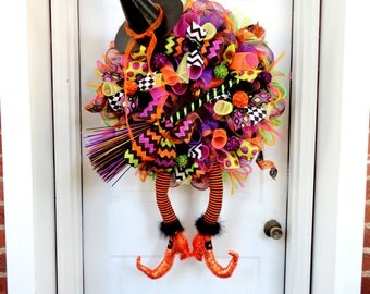 RAZ with BooTS Wicked Witch Wreath Pre Order - Halloween Mesh Wreath - Halloween Decor - Made to Order - Witch Leg and Witch Hat Wreath
