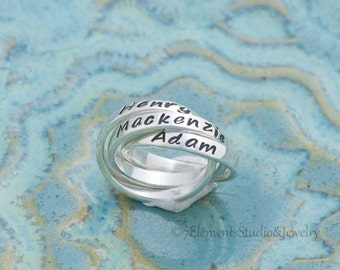 Triple Mother's Ring, Interlocking Name Rings, Personalized Rolling Rings, Nested Sterling Rings
