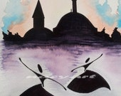 Original Painting, Whirling Dervish, spinning dervish, splash, A4(8x12), rumi, sufi, Yellow, blue, orange, black,