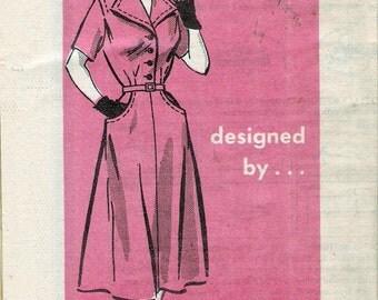 "Vintage 1950's Marian Martin R9242 Shirtwaist Dress Flared Pockets Sewing Pattern Size 16 1/2 Bust 36"""