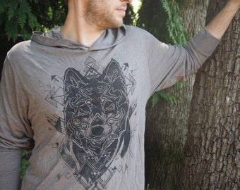 Painted Gray Wolf Hoodie - Charcoal Black Halftone Screenprint on a Venetian Gray Colored Hoodie
