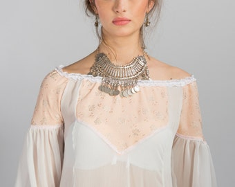 White tunic dress,Off the shoulder dress,Bohemian dress,Sheer dress,Tunic dress,White hi low dress,Beach dress,Off the shoulder top