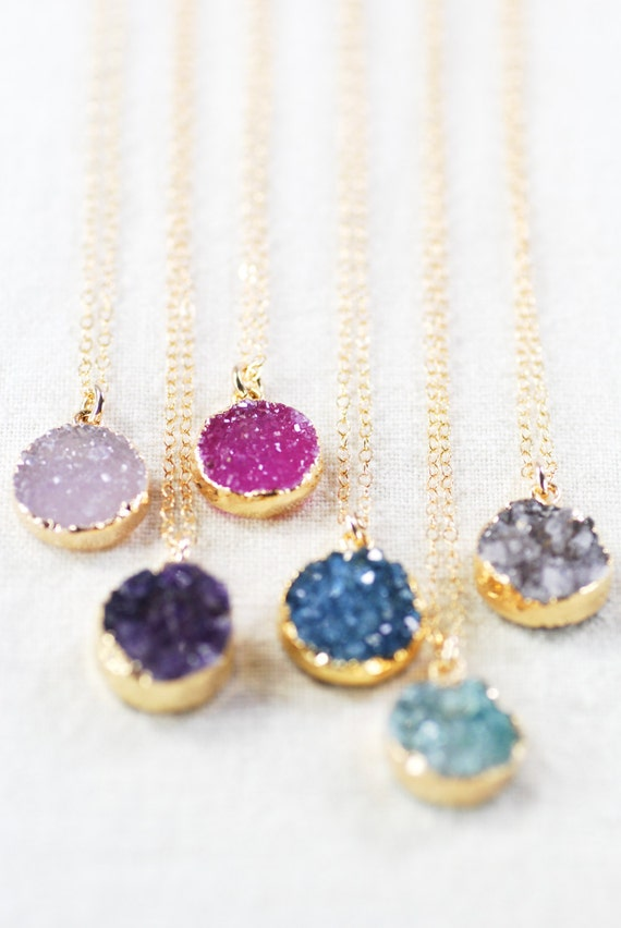 Beautiful druzy pendant necklaces