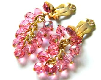 Pink Cha Cha Earrings Vintage Rhinestone Bead Jewelry 1950s Boho  Burlesque Dangle Style Collectible Earrings Pink For Women