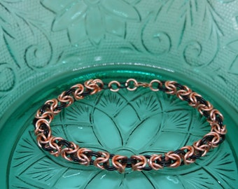Peach and Black Enameled Copper Byzantine Chainmaille Bracelet