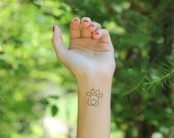 Dog Lover's Dog Paw Temporary Tattoo