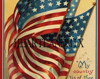 Vintage digital image download printable patriotic holiday My Country Tis of Thee
