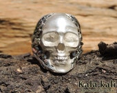 "Sterling Silver Skull Ring ""Eskulia"" Size Us 9.5  Us 9 1/4 Us10 1/2   Us 10 1/2+ Us 11"