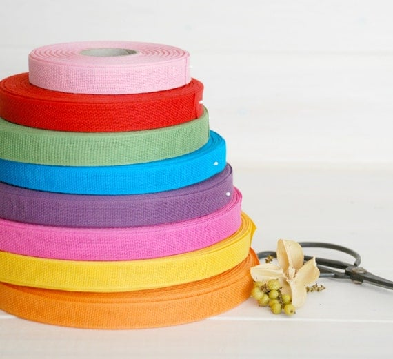 "Italian Cotton Ribbon - 18 Yards of 100% Cotton Ribbon- 1/2"" Wide- Loose Weave Ribbons - You choose your Color - Eco Friendly Ribbons"