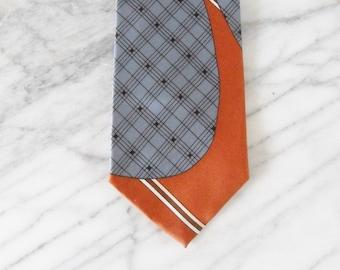 Vintage Retro Abstract Orange and Blue 70s Tie