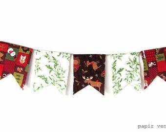 Christmas Bunting Banner, Christmas Decorations, Woodland Animals Bunting Banner, Holiday Bunting, Christmas Photo Prop, Woodland Bunting