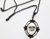 Creepy cameo necklace - Victorian inspired black brass charm with hand painted eye - wearable art - copper bee - Gothic jewelry - lowbrow