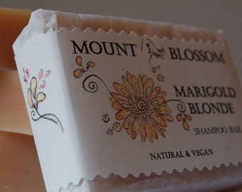 Natural, Organic,  Vegan Shampoo Bar - Marigold Blonde for blonde hair with chamomile extract, lemon oil, organic oils