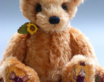 Kenny, a 12 inches tall OOAK artist bear made from hand dyed golden brown mohair with cotton fabric paw pads