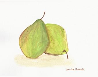 50% off Pears art, ORIGINAL watercolour painting, fruit watercolour, pears art, 12 x 9 inch