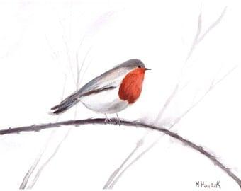 ORIGINAL watercolour, Robin art, bird art, original watercolour painting, robin illustration, 12 x 9 inch