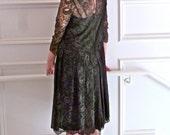 1960s Dress  Illusion Lace NEW Gatsby 1920s Style Vintage Sara Fredericks Pleated Drop Waist