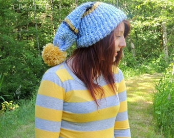 Long Stocking Cap - Knitted Hat - Slouch Knit Hat - Elf Hat - Gifts Under 20